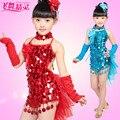 2013 костюм женский ребенок Латинский танец платье блестка современный танец Детской одежды блестка износ производительность