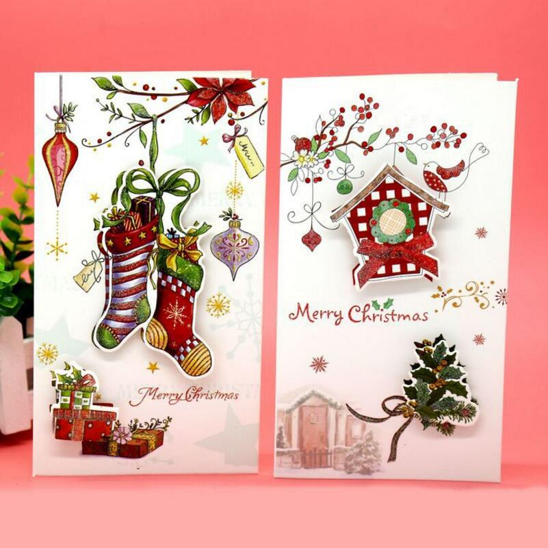 8pcs/lot Creative Christmas Greeting Card Children Cartoon Print ...