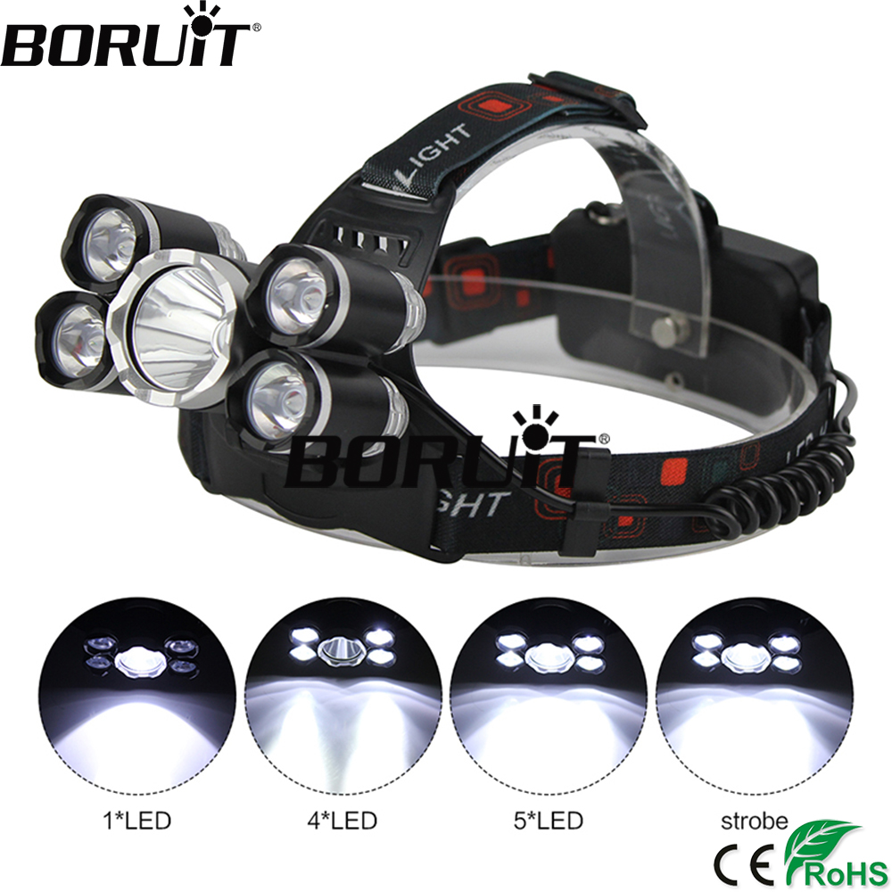 BORUiT 5000LM XML T6/XPE 5 LED Headlight 4-Mode Headlamp Waterproof Head Torch Camping Hunting Flashlight by 18650 Battery фонарик led flashlight skyray 5 x t6 xml 3 5000lm 18650 xml t6