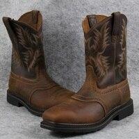 Goodyear мужские рабочие ботинки с квадратным носком в стиле ретро теплые ковбойские сапоги большие размеры обувь