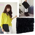 2014 Casual Black Korea Stylish Women's Lace Rose Pattern Clutch Handbag 50
