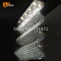 Holiday Sale 100 Guarantee Rectangle L800 W200 H800mm Curtain Wave Crystal Chandelier Moden Home Lighting