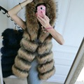Best Winter Thick Genuine Raccoon Furs Vests Woman Real Fur Coat For Women's  Natural Fur Jacket Hooded Waistcoat
