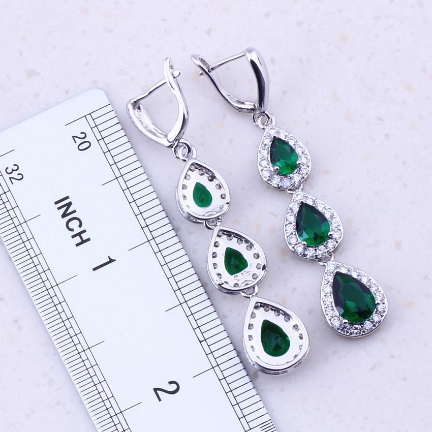 Viihdyttävä vihreä luoma smaragdi valkoinen CZ 925 hopea - Muotikorut - Valokuva 3