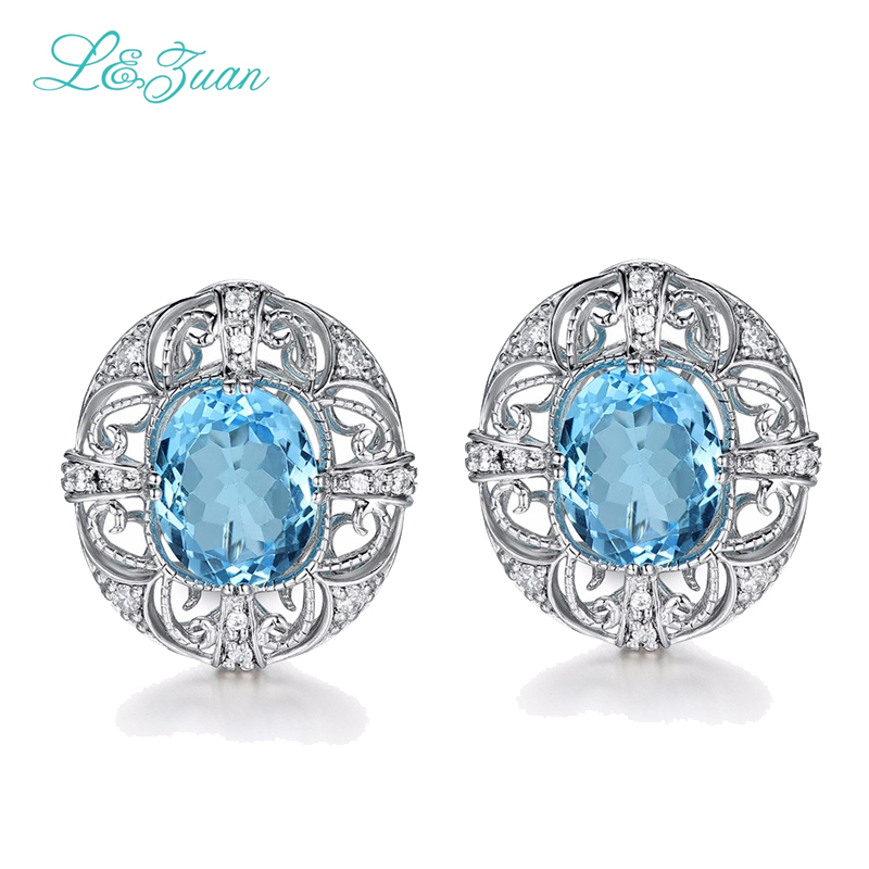 I&zuan S925 silver Womens Stud Earring Classic 5.67ct Topaz Blue Round Gemstones Lace Silk Wed Fine jewelry Party Gift