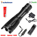 zk50 LED flashlight Focus lamp LED torch e17 CREE XM-L T6 4000 Lumens Zoomable lights + AC/Car Charger + 18650 battery