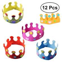 12pcs EVA child Party Hats Birthday Hats DIY Birthday Crown Hat Nursery Toy Crown Hat for Kids Party Gift (Random Color)(China)