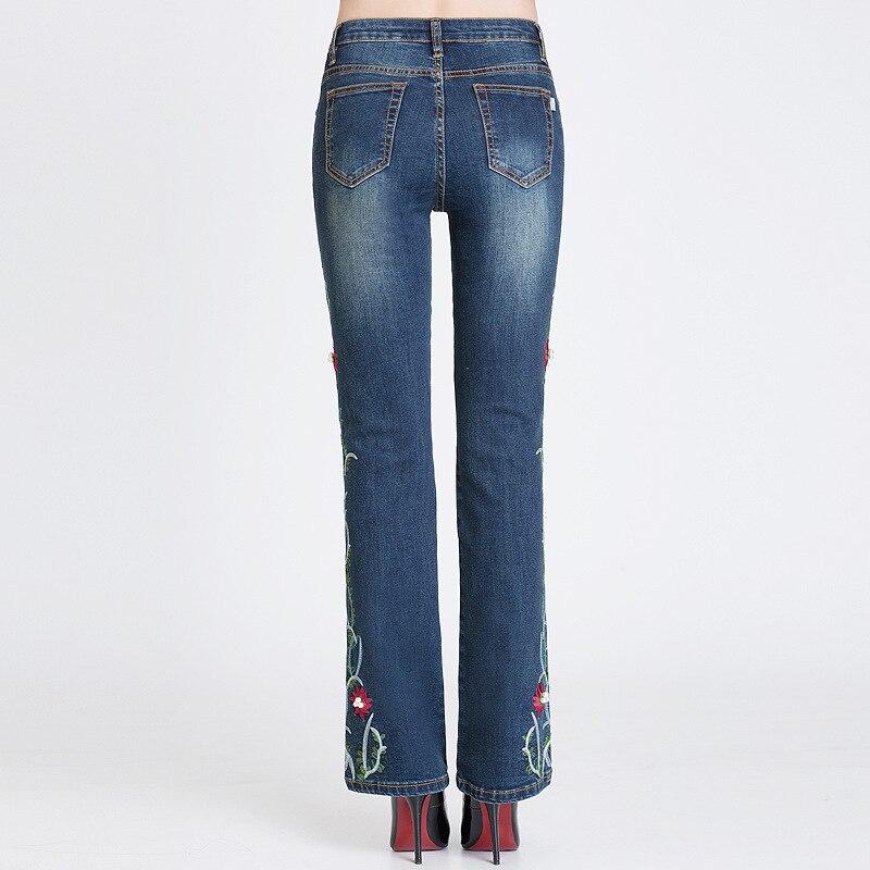 Cintura Mujer Alta Y Elasticidad Azul Recta Otoño Jeans Acrmrac Bordado Primavera Mujeres Longitud qTwB70E