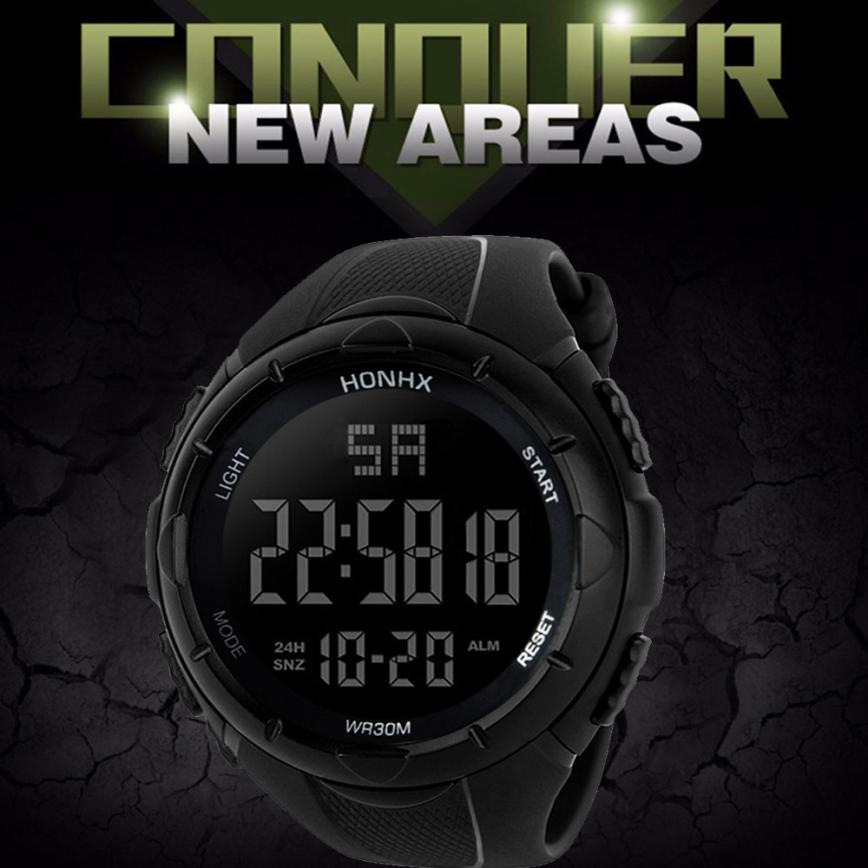 Fashion Brand New Water Resistant Watch Men's Boy LCD Digital Stopwatch Date Rubber Sport Quartz Wristwatches Electronic quartz wristwatches 2017 new fashion colorful boys girls students time electronic digital wrist sport watch gift hot dropship626