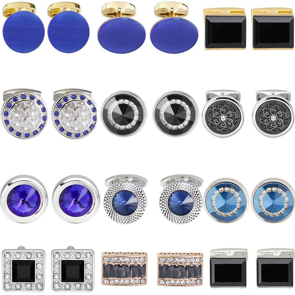 Luxury Shirt Fashion Cufflink For Mens Brand Blue Crystal Opal Cuff Links Button High Quality Luxury For Wedding Groom
