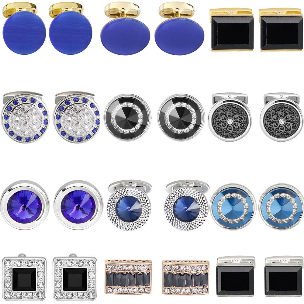 Luxury Shirt Fashion Cufflink For Mens Brand Blue Crystal Opal Cuff Links Button High Quality Luxury For Wedding Groom