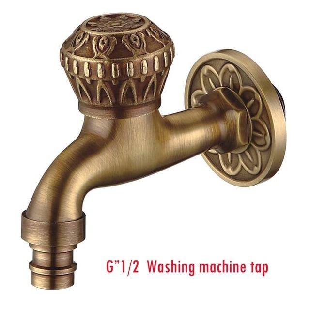 Antique Brass Laundry Bathroom Wetroom Kitchen Wall Mount Sink Basin - Bathroom sink spigots