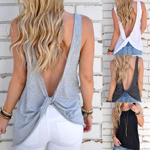 Loose Tank Tops Women Sexy Sleeveless Backless Shirt Knotted