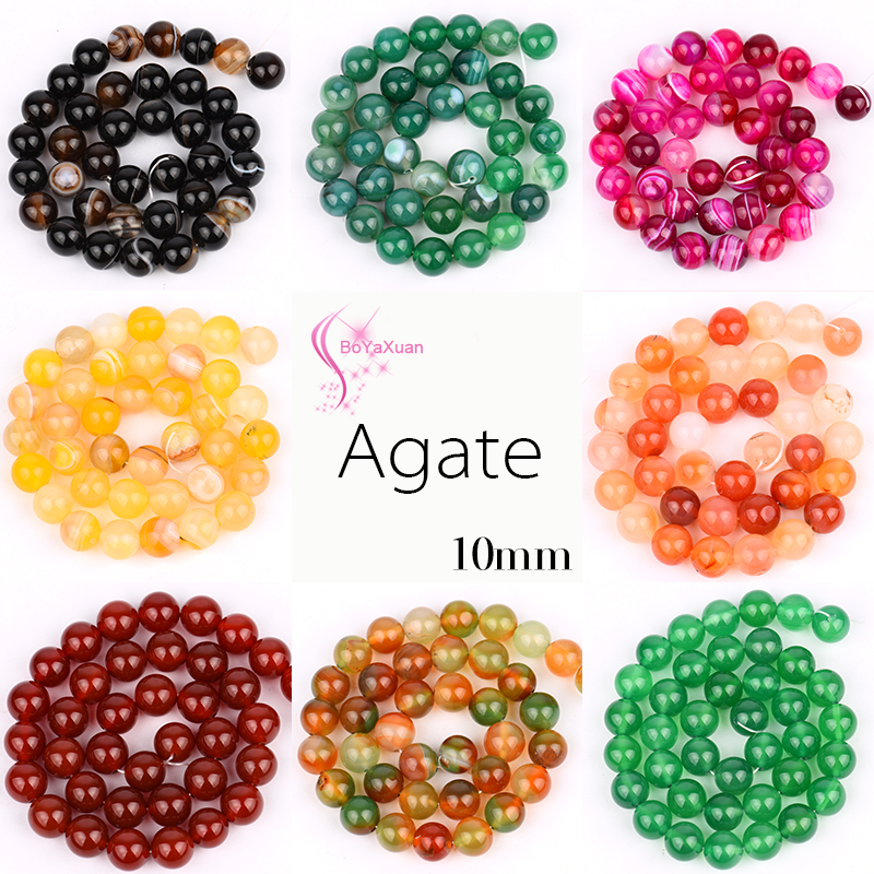 BoYaXuan Top quality Natural Stone Diverse styles beads Colorful Round Loose bead Stone ball 10MM Jewelry bracelet making diy