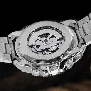 Image 5 - 2018 זוכה אופנה עיצוב שחור מכאני פלדת שעון אוטומטי שעונים גברים שחור נירוסטה עסקי רצועת Relogio זכר 428
