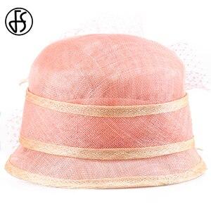 Image 5 - Fs sinamay chapéus feminino rosa fedoras flores aba larga derby chapéu fascinador para casamento festa de igreja verão senhoras chapeu feminino