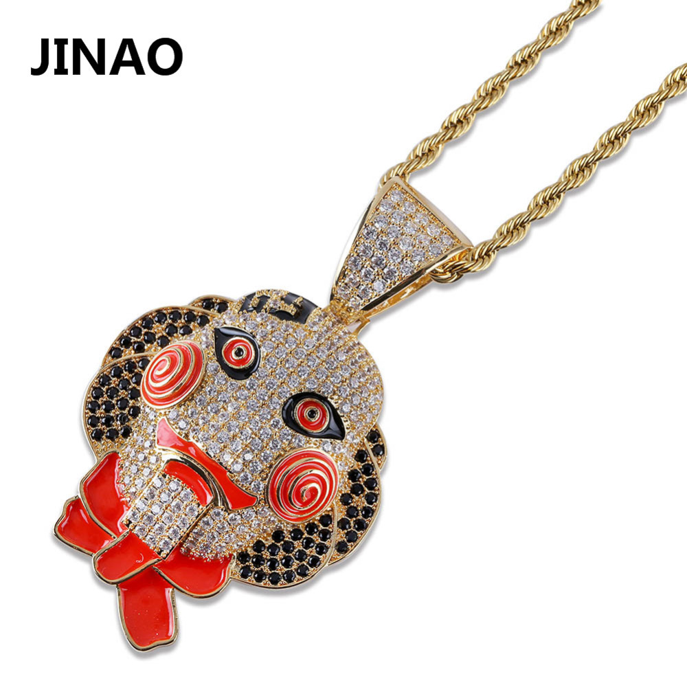 New Hip Hop Fashion 69 Saw Clown Necklace Cubic Zircon Gold Silver Saw Horror Movie Theme Pendant Necklace Iced Out Micro Pave new hip hop fashion 69 saw clown necklace cubic zircon gold silver saw horror movie theme pendant necklace iced out micro pave