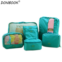 7pcs Set Tour Packages Travel Toiletry Kits Digital Underwear Clothing Footwear Pouch Storage Bags