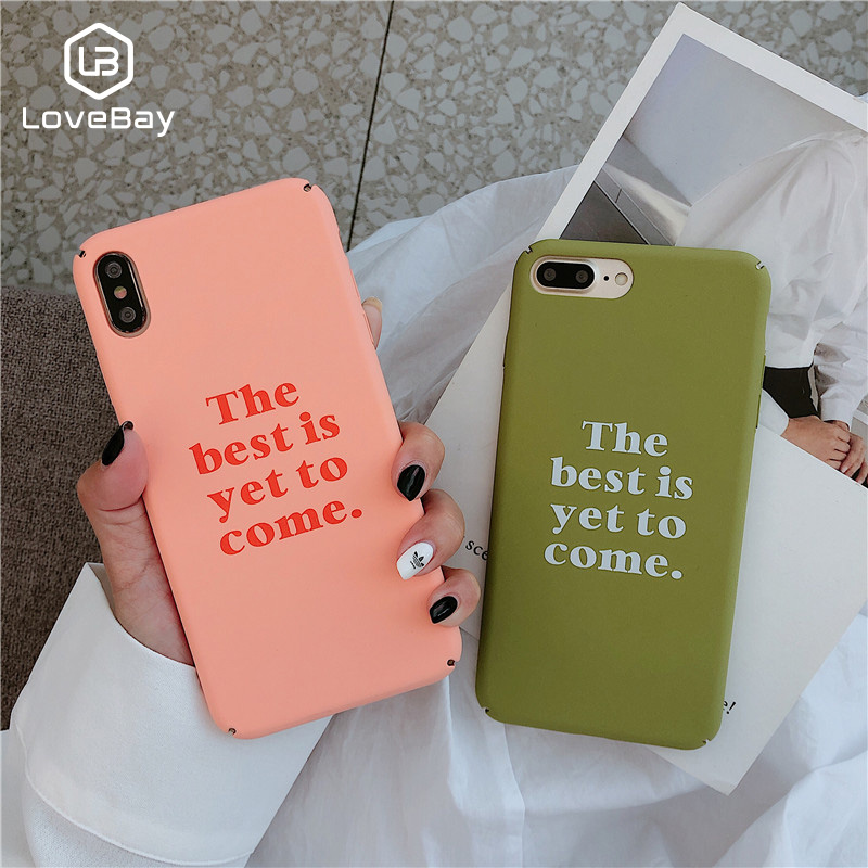 Lovebay Phone Case For iPhone 6 6s 7 8 Plus X XR XS Max Fashion Cartoon Letter The best is yet to come Hard PC For iPhone X Case image