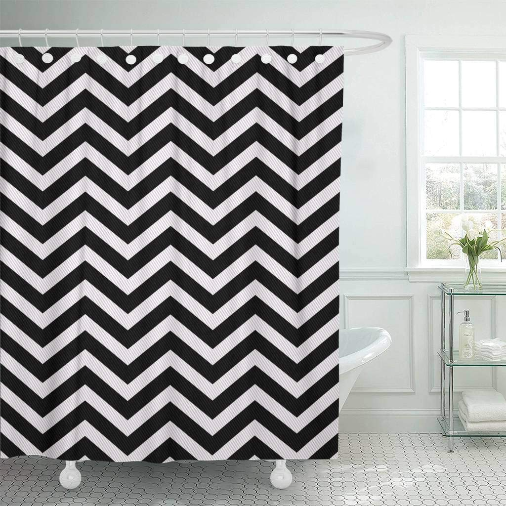 Shower Curtain With Hooks Herringbone Black And White Zigzag That Is Repeats Chevron Retro Abstract Chic Flat Bathroom