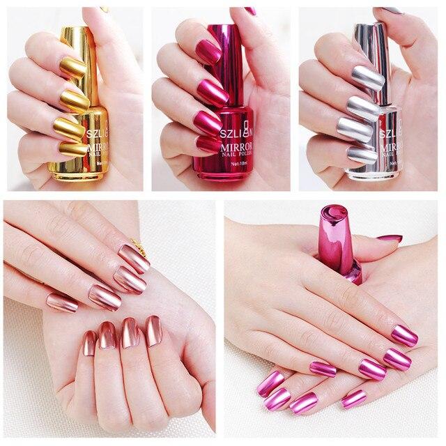 100% nuevo esmalte de uñas metálico efecto espejo mágico cromado inocuo de larga duración esmalte de uñas Envío Directo