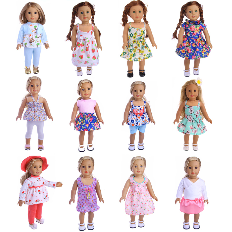 12 Styles Choose 1=1set Doll Clothes Wear fit 18 inch American Girl Doll accessories,Children best Birthday Gift 18 inch doll clothes and accessories 15 styles princess skirt dress swimsuit suit for american dolls girl best gift d3