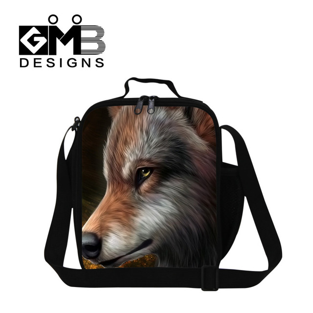 Rushed Sale Wolf Print Portable Kids Lunch Bag Thermal Insulated Lunchbag Women Tote Bento Lunch Pouch Lancheira Bolsa Termica
