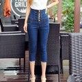 2017 primavera verano nueva tallas grandes marca de cintura alta Stretch mujer niñas denim vaqueros flacos delgados capris hasta la pantorrilla pantalones ropa