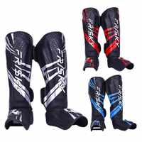 MMA Boxing Shin Guard Instep Leg Protector Pads PU Leather Thicken Kick Foot Muay Thai Sanda Training Ankle Support Leg Warmers