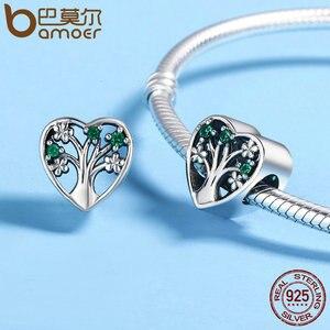 Женские браслеты BAMOER, браслеты из серебра 925 пробы с прозрачными фианитами в форме сердца, подарок SCC221