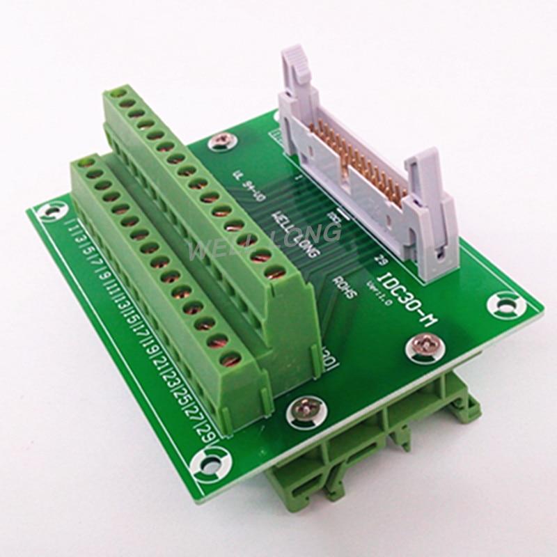 IDC30 2x15 Pins 0.1 Male Header Breakout Board, Terminal Block, Connector. idc34 2x17 pins 0 1 male header breakout board terminal block connector