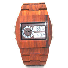 2016 New Fashion Digital & Analog Red Sandal Wood Watch For Men Women Lover UWOOD Brand Natural Wooden LED Display Wristwatches