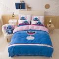 Удобные мягкие бархатные дети постельного белья Лило и Стич мультфильм пододеяльник простыня 4 шт. наволочки текстильной кровать queen размер