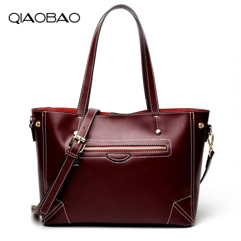 QIAOBAO Women Bag Big Luxury Elegant Top Handle Bags Smile Bag Brand Women Designer Handbags 100% Genuine Leather Female Bag цена