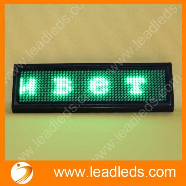 led name card green B1248G Led Scrolling badge running flash text display