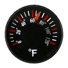 0-120 F Plastic Round Mini Thermometer Spirit Circular Thermograph Fahrenheit Hydrothermograph Diameter 20mm