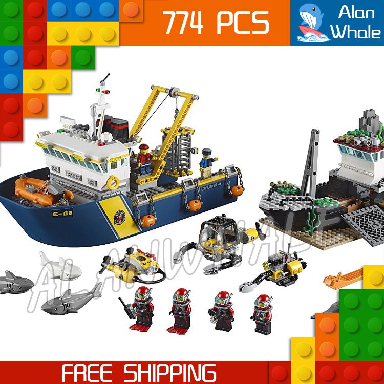 774pcs City Deep Sea Explorers 02012 Model Exploration Vessel Building Blocks Bricks Children Toys Ship Kit Compatible With Lego lepin 02012 774pcs city series deepwater exploration vessel children educational building blocks bricks toys model gift 60095