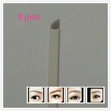 50pcs 9 Pin Permanent Eyebrow Makeup Blades Tattoo Manual Needle For Microblading Pen Machine 3D Eyebrow Microblading