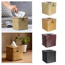 Квадратная коробка для салфеток, крышка водорослей, ручная работа, бумажное полотенце, диспенсер для салфеток, коробка для хранения салфеток для домашнего ресторана