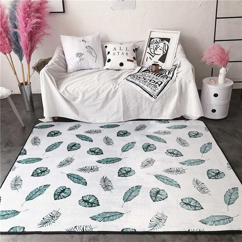 Mode Style scandinave vert feuilles blanc salon salon salle de bain porte pied Yoga Camp tapis tapis décoratif zone tapis