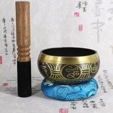 Tibetan Singing Bowl Decorative-wall-dishes Home Buddhism Yoga Copper Chakra Nepal handmade Bowl(Including Sticks and Mats)