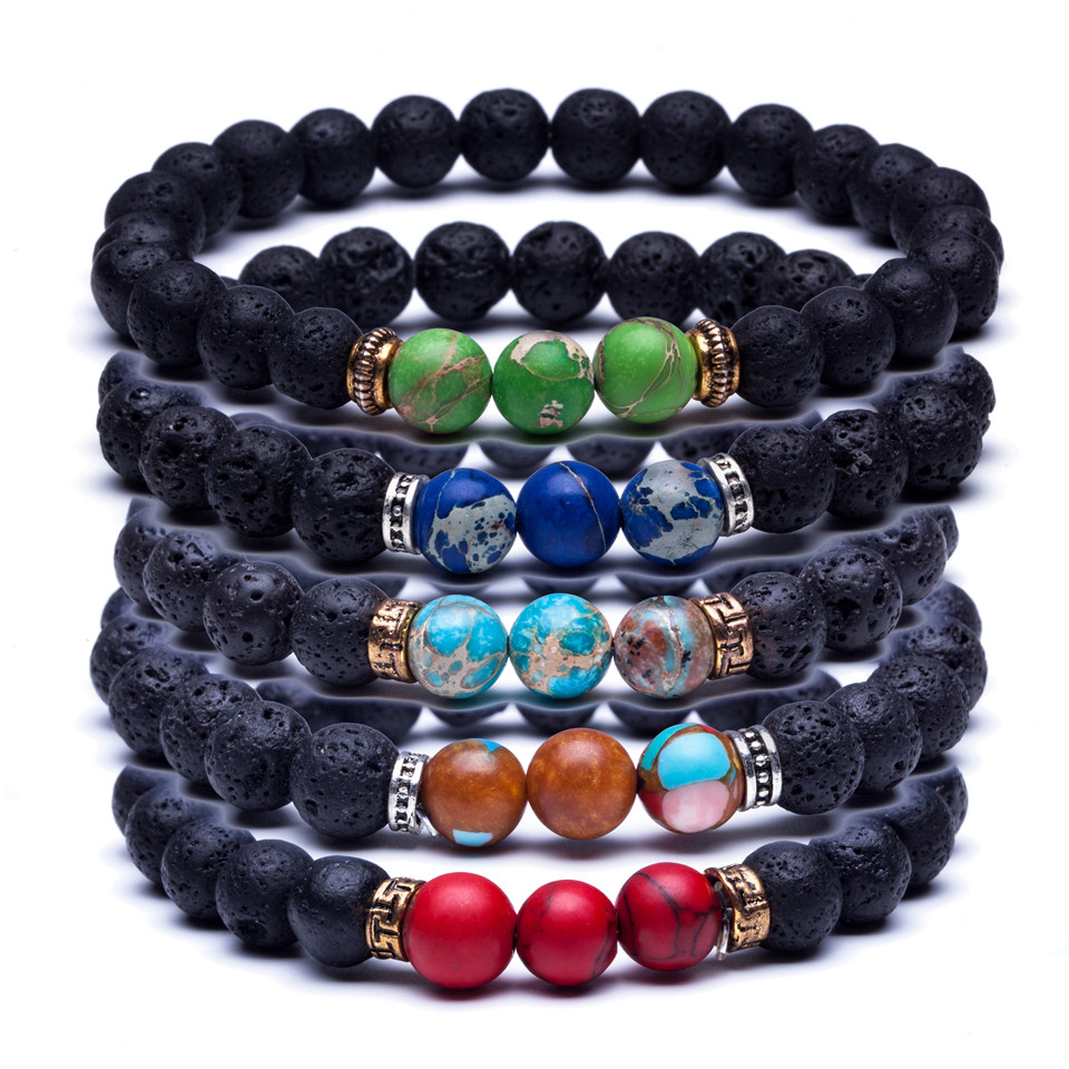 10pcs/lot Cheap Wholesale Men's Lava Stone Natural Stone Bead Strand Bracelet Couple Distance Bracelets Braclet Jewelry on Hand