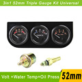 52mm Triple Gauge Kit (Water Temp Gauge + oil pressure Gauge + voltmeter) 52mm Car Electrial Temperature Sensor Auto Gauge Meter