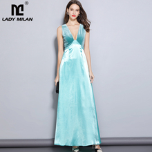 2019 Womens Sexy Low V Neck Sleeveless Velour Patchwork Fashion Long Party Prom Elegant Runway Dresses