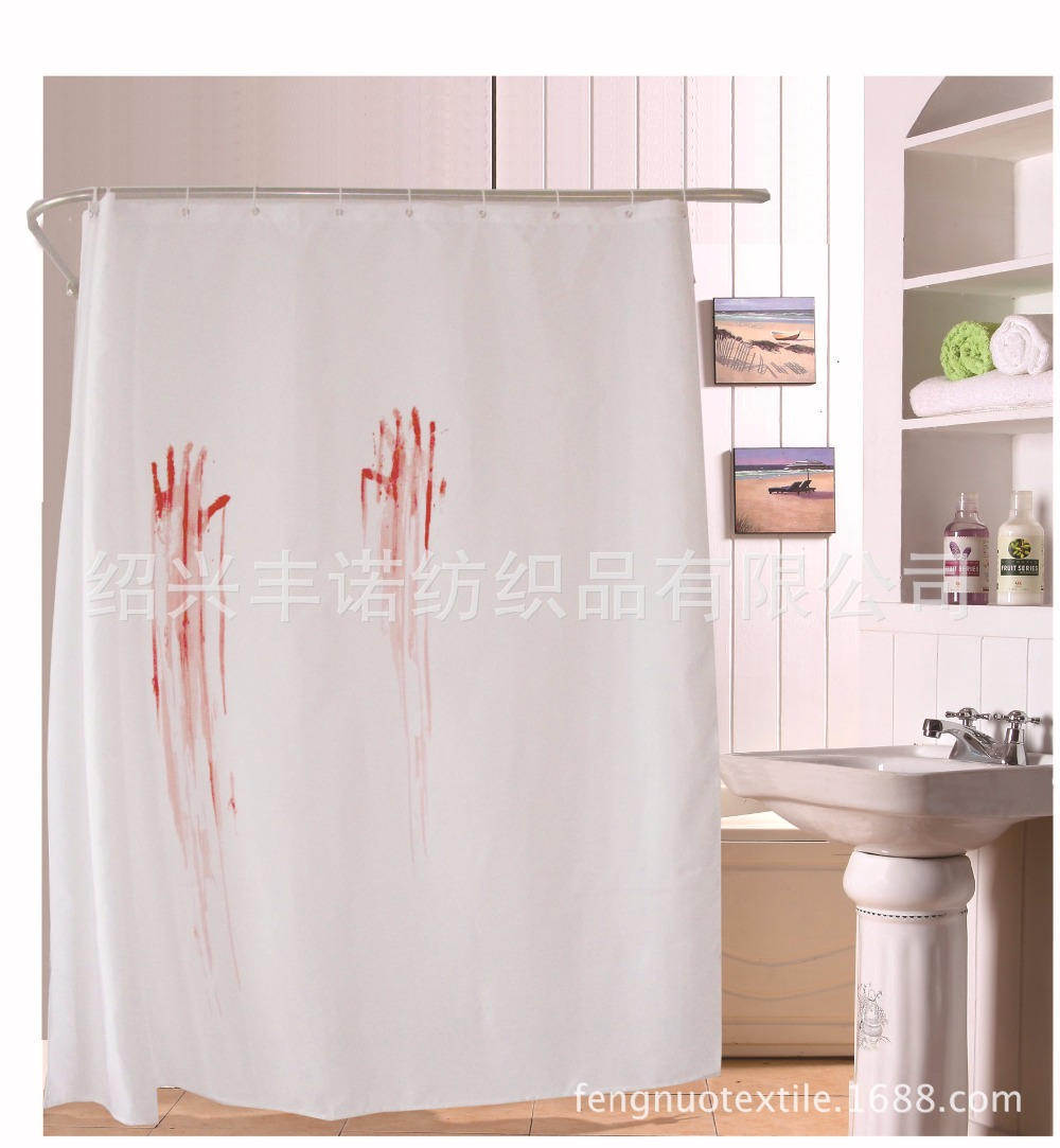 Halloween shower curtain hooks - Personalized Halloween Blood Handprint Shower Curtain Mildew Waterproof Polyester Fabric Panel Grommet 12 C Hook