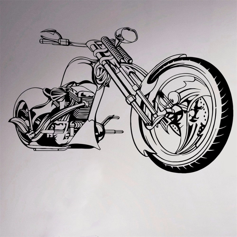 Motorcycle chopper wall vinyl sticker motorbike room decor decal garage sport club home interior bedroom murals removable in wall stickers from home