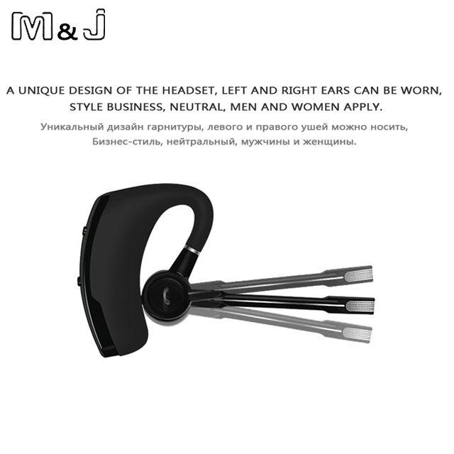 M&J V8s Voice Control Business Bluetooth Headset Handsfree Wireless Headphones For Drive Noise Cancelling For Iphone Android