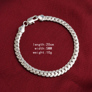 AH086 silver color bracelet Hot fashion jewelry 10 m full lateral bracelet Factory production can be wholesale(China)