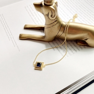 Image 4 - Louleur 925 スターリングシルバースクエアジルコンチョーカーネックレスゴールドファッション野生ショート鎖骨チェーンジルコンペンダントネックレスギフト