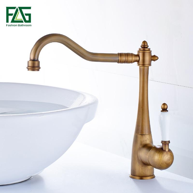 FLG Kitchen Faucets Single Holder Single Hole Kitchen Sink Faucet Swivel Spout Ceramic Handle Chrome Brass Mixer Water Taps
